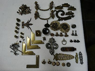 Lot Vintage Asorted Various  Drawer Door Brass Handles Knobs Hardware Decoration