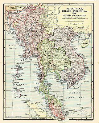 1902 Color Map of BURMA, SIAM, FRENCH INDO-CHINA & STRAITS SETTLEMENTS