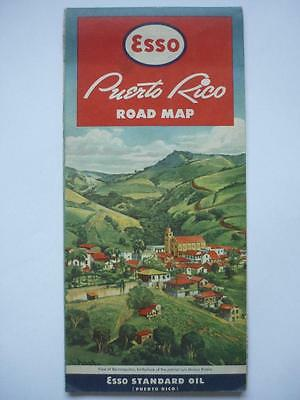 Vintage Motoring  1950's/60's  EssoTouring Map Puerto Rico