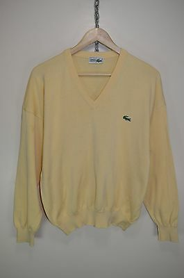 vtg CHEMISE LACOSTE ORIGINAL CASUALS COTTON KNITTED V-NECK JUMPER SWEATER size M