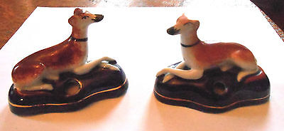 Pair Of Antique Staffordshire Penholders, Dog, Whippet, Greyhoud