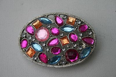 Oval Silver Tone Ladies Belt Buckle Only with Large Brilliant Stones 5 Colours