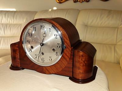 Art Deco Mahogany Westminster Chiming Mantle Clock,german Movement,good Order.