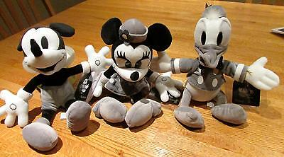 Rare~Tokyo Disneyland Monochrome Mickey/Minnie Mouse Donald Duck  Set of 3 L@@K
