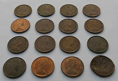16x Great Britain Half Penny 1/2p From 1971 To 1982 Vintage Coins GB UK (ref#5)