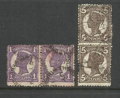 AUSTRALIA QUEENSLAND ~ 1897-1911 FOURTH SIDEFACE 5d & 1/- PAIRS (USED)