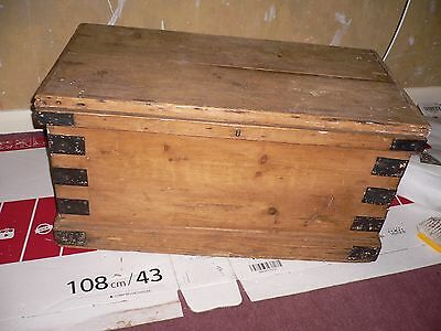 Antique Vintage Metal Edged Wooden Spripped Trunk Blanket Box.pickup Tn401Qu.