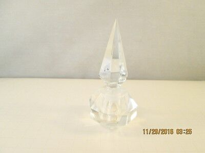 Vintage Heavy Clear Glass Perfume Bottle With Stopper.