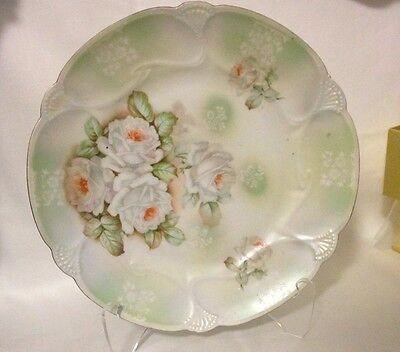 Antique Germany Porcelain White Rose Plate 1900's, B. T. Co. Burley & Tyrell