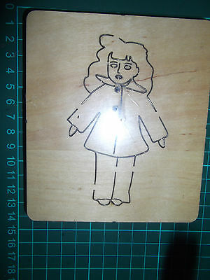 BABY DOLL GIRL * BUTTON COAT & TREWS  Cross-cuts * retired wooden die cutter *