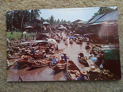 Two Postcards From Thailand.dhornburi,floating Market. And Bangkok.