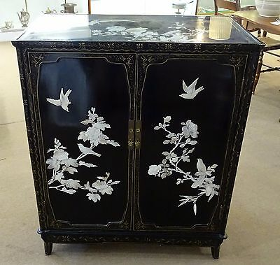 Black Lacquer Cabinet Inlaid Mother Of Pearl