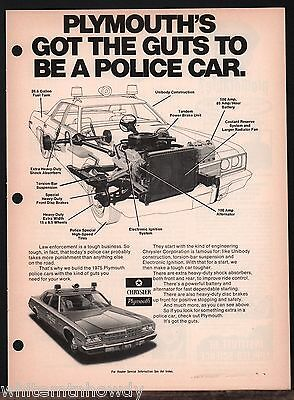 1975 PLYMOUTH Pursuit Police Cruiser Car Law Enforcement Vehicle AD