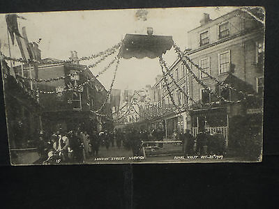 Norfolk -London Street Norwich, decorated  for the Royal visit October 1909