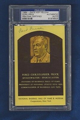 Ford Frick Autographed Hall of Fame Baseball Plaque Postcard PSA SLABBED