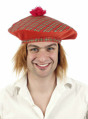 Scottish Tartan Hat Ginger Hair Scotsman Wig Tom-O-Shanter Jimmy Fancy Dress Cap
