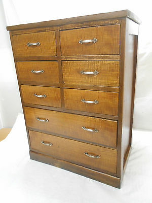 Antique Oak and Sugi Wood Office Chest Cupboard Drawers Japanese Circa 1930 #117