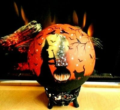 Witchs Black Cats Halloween Crystal Ball Electric Lamp & Claw Footed Stand