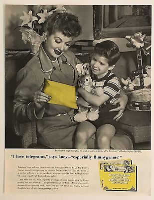 1957 Western Union Lucille Lucy Ball Advertisement AD Ricky Bunnygram Easter