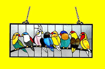 Colorful Birds on Wire Tiffany Style Stained Glass Window Panel      Great Gift!
