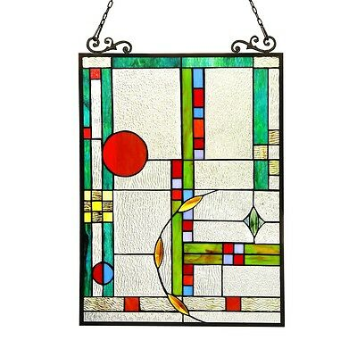 "Stained Glass Tiffany Style Window Panel Modern Contemporary  Design 17.5"" x 25"""