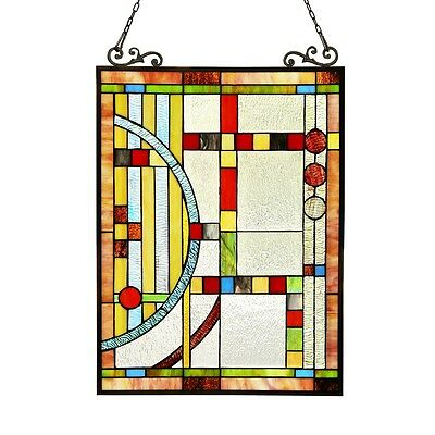 """Stained Cut Glass Tiffany Style Window Panel Contemporary Design 17.5"""" x 25"""""""