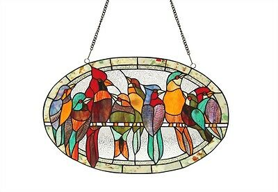 Ring Of Many Birds Design Window Panel Tiffany Style Stained Glass & Cabochons