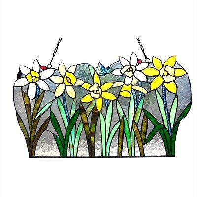 "Daisy Floral Design Tiffany Style Stained Cut Glass Window Panel  23"" L x 14"" H"