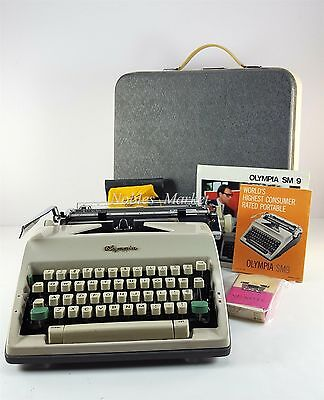 Vintage Olympia SM9 DeLuxe Typewriter 1965 West Germany with Case