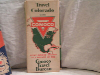 1940 Conoco Road Map For Colorado