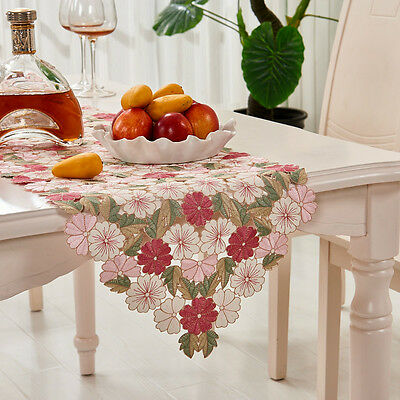 Floral Embroidered Table Runner Hollow Out Tablecloth Dining Living Room Decor