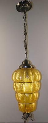 Hollywood Regency Amber Caged Textured Bubble Glass Hanging Light Fixture