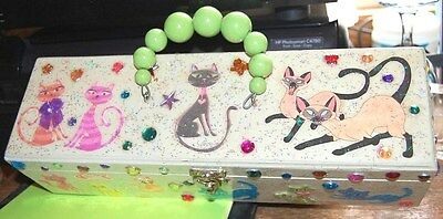 WHAT'S UP PUSSY CAT? THAT'S CRAZY! HAND BAG Wood Box Purse Siamese USA Hand Made