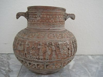 Vintage Greek Or Egyptian Terracotta Clay Pot W-Carved Designs Everywhere