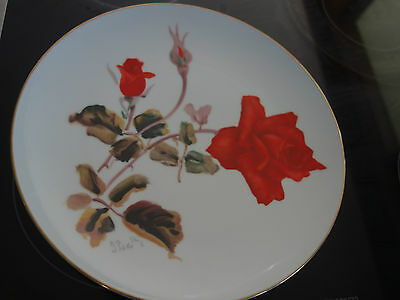 "VINTAGE RETRO 60s ""NORITAKE "" JAPAN HAND PAINTED RED ROSE SIGNED LARGE PLATE"