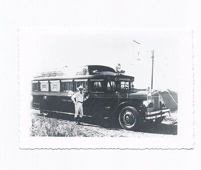 Vintage 1930's Snap Shot Real Photo Tom Mix & His Bus Very Rare Find