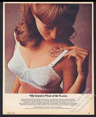 1968 Fruit of the Loom white lace bra woman color photo vintage print ad