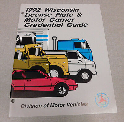 1992 Wisconsin License Plate & Motor Carrier Credential Guide DMV publication