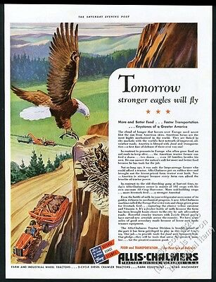 1942 Allis-Chalmers tractor scraper bald eagle & chick nest art vintage print ad