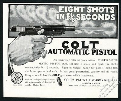 1906 Colt .32 automatic pistol gun illustrated vintage print ad