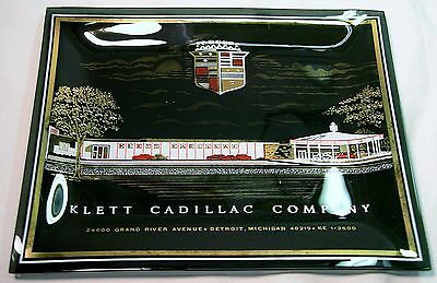 Vintage~KLETT CADILLAC COMPANY Bent Glass ASHTRAY~c.1960s~HOUZE Glass~NEVER USED