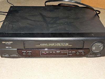 Sharp 4 Head Vcr Vhs Player Model Vc-A400 Tested Works Black Used No Remote