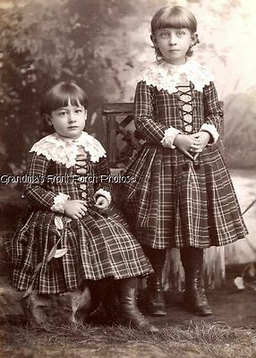 Antique Cabinet Photo Two Darling Girls Matching Plaid Dresses Palmer Buffalo Ny