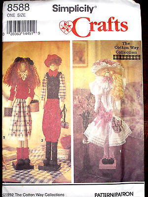 """Simplicity Cotton Way Collections 22"""" Dowel Dolls Clothes Pattern 8588 UC"""