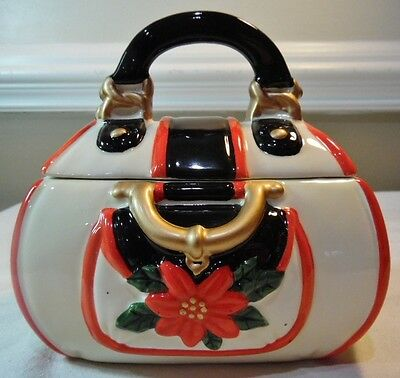Davids Cookies Small Purse Cookie Jar Hand Painted Pottery Poinsettia Christmas