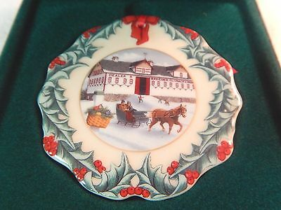 1999 Longaberger Porcelain Collectors Club Hometown Christmas Holiday Ornament
