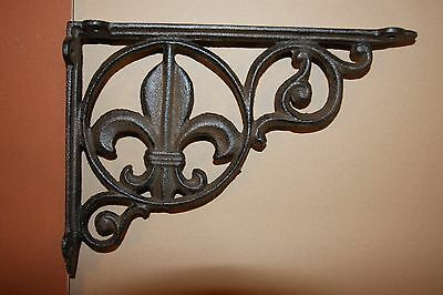 "(14) Saints Wall Decor, Cast Iron Shelf Brackets Fleur De Lis, 9"" Shelf,b-3"