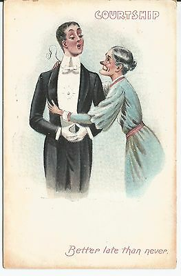 Antique Novelty Courtship - Better Late Than Never Postcard