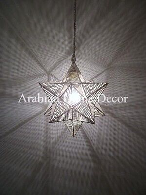 """Handcrafted Silver Plated Brass Moroccan 10"""" Wide Hanging Star Lamp Lantern"""