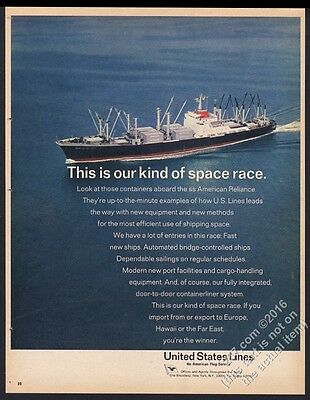 1967 SS American Reliance container ship photo United States Lines print ad